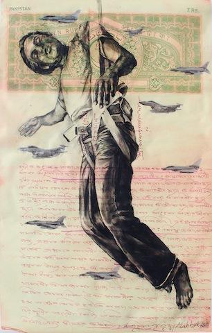 Mahbubur Rahman , Landing, charcoal drawing