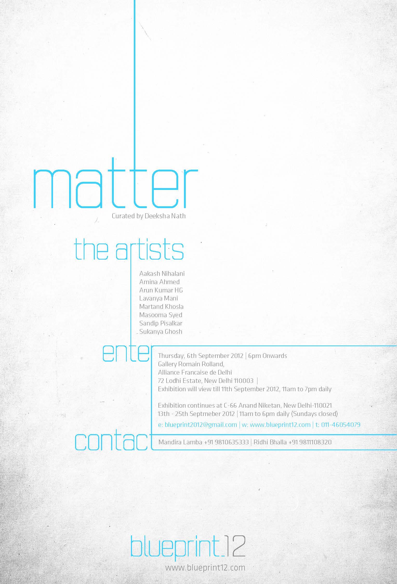 Matter curated by Deeksha Nath Blueprint12 launch show